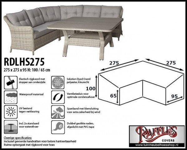 Hoes voor hoge hoekbank 275 x 275 x 95 H: 100/65 cm