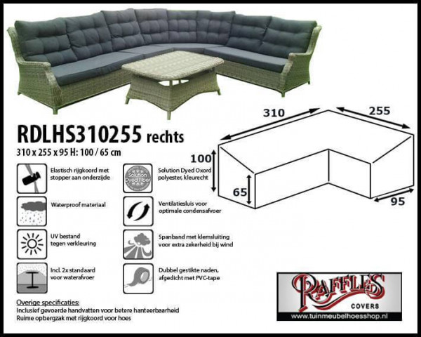 Hoes loungeset dining 310 x 255 x 95 H: 100/65 cm