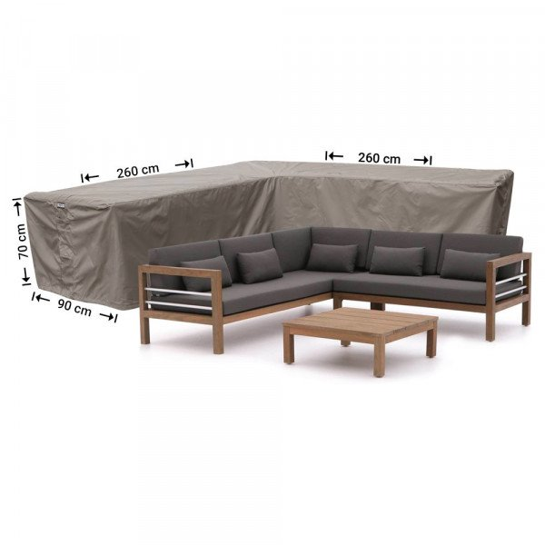 Hoes loungebank hoek 260 x 260 x 90 H: 70 cm